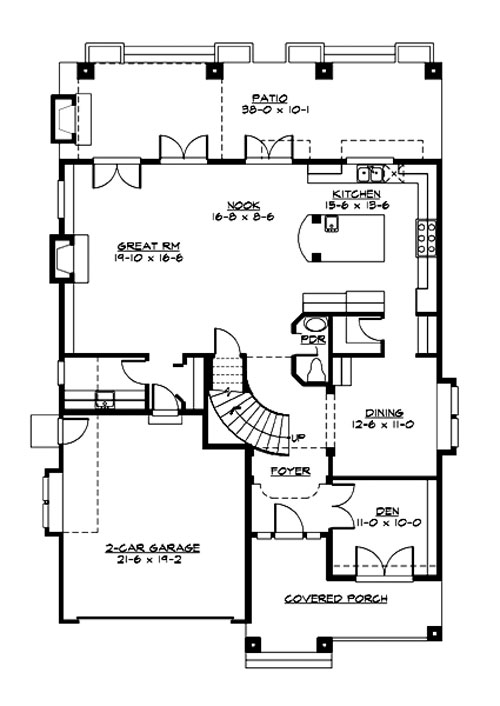 Main level floor plan of a two-story 3-bedroom Woodland traditional home with a covered front porch, a den, formal dining room, kitchen, breakfast nook, and great room with access to the rear patio.