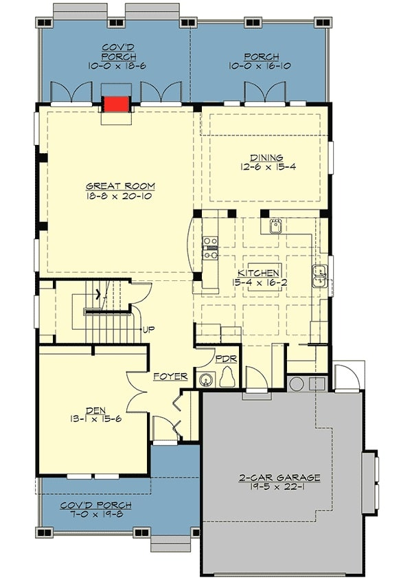 Main level floor plan of a two-story 4-bedroom prairie home with covered front and back porches, den, foyer, great room, formal dining room, and a kitchen that passes through the 2-car garage.