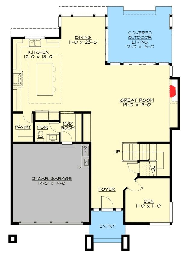 Main level floor plan of a two-story 4-bedroom prairie style home with foyer, den, great room, dining area, outdoor living, kitchen, and mudroom that opens to the double garage.