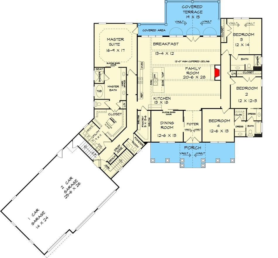 Main level floor plan of a two-story 4-bedroom ranch with an angled garage, four bedrooms, utility, front porch, formal dining room, kitchen with breakfast nook, and family room that opens to a covered terrace.