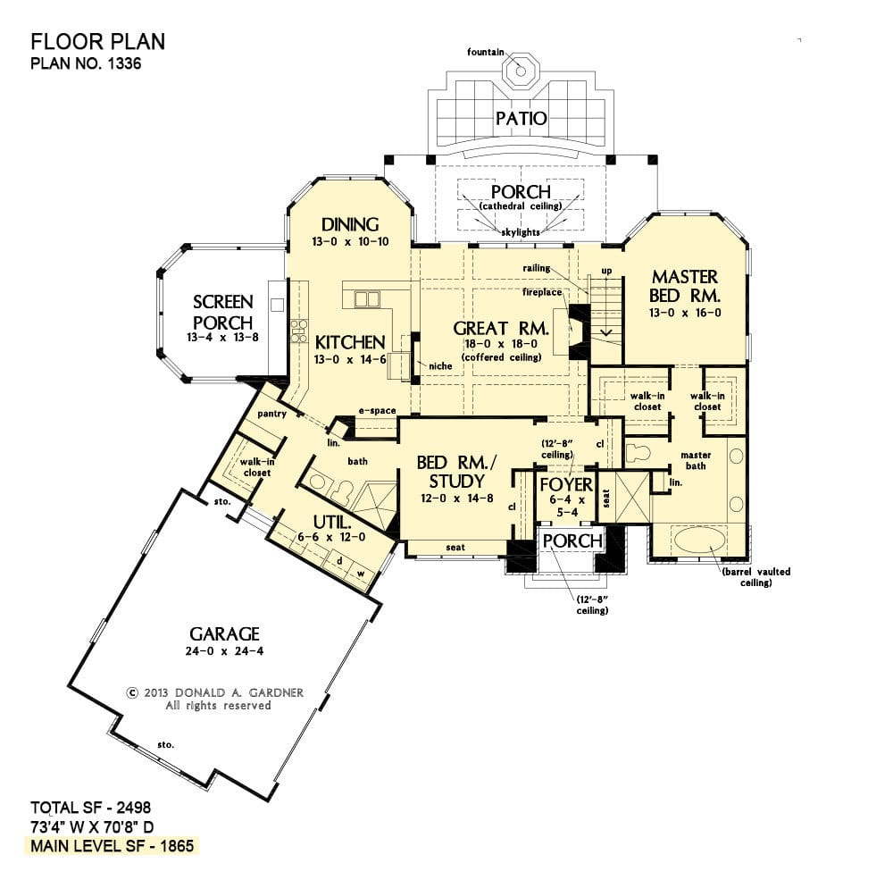 Main level floor plan of a two-story 4-bedroom rustic style home with a foyer, great room, kitchen, dining area, screened porch, utility, an angled garage, and two bedrooms including the primary bedroom and the flexible study.