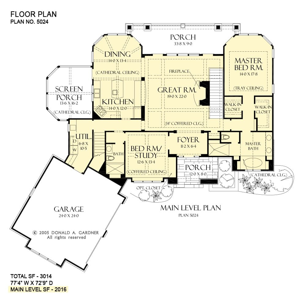 Main level floor plan of a two-story 4-bedroom rustic style The Laurelwood home with great room, kitchen, dining area, screened porch, utility, primary bedroom, and a versatile study that serves as a guest room.