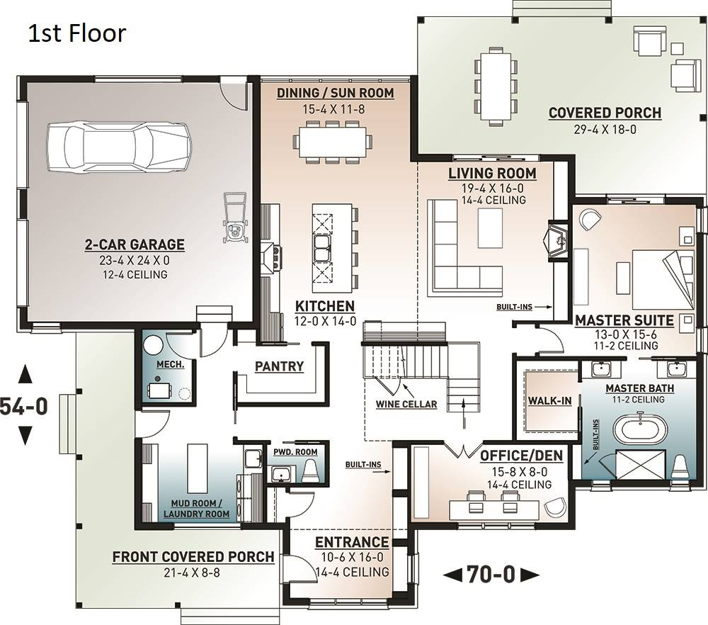 Main level floor plan of a two-story 4-Bedroom Scandinavian style New Cotton home with living room, kitchen, sunken dining room, wine cellar, office/den, laundry room, primary bedroom, and expansive front and rear porches.
