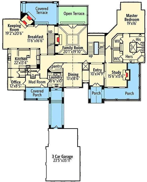 Main level floor plan of a two-story 4-bedroom shingle-style home with a formal dining room, kitchen with breakfast area and keeping room, office, study, primary bedroom, and a family room that opens out to the rear terrace.