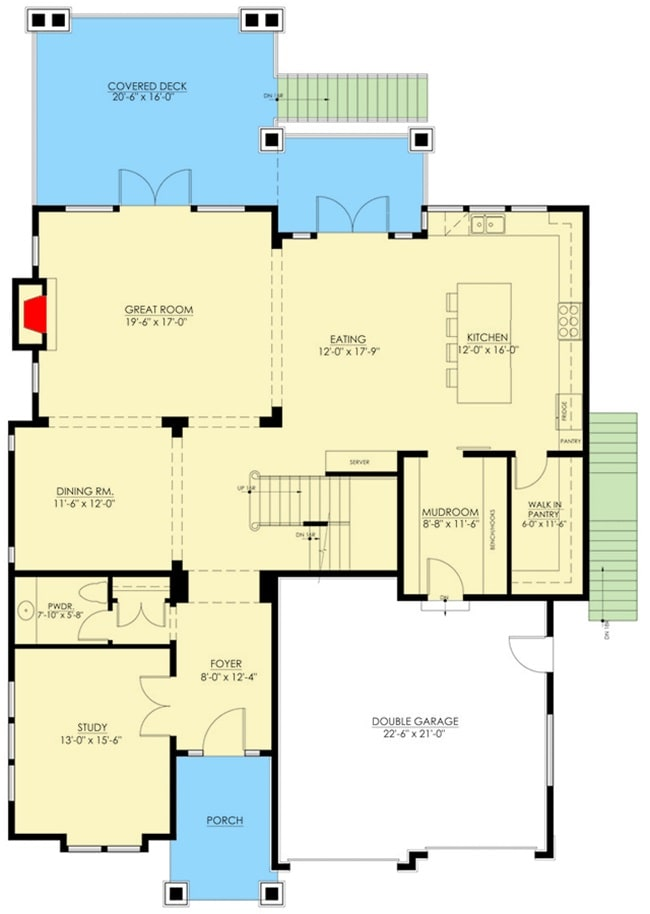 Main level floor plan of a two-story 4-bedroom shingle-style home with a foyer, study, formal dining room, eat-in kitchen, mudroom, and a great room that opens out to the covered deck.
