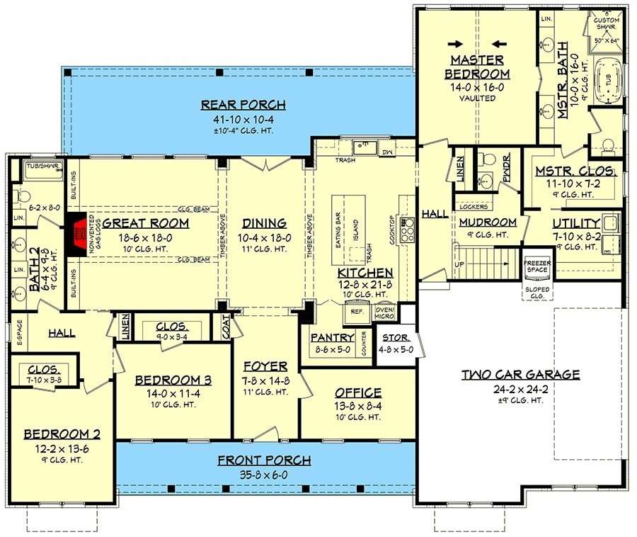 Main level floor plan of a two-story 4-bedroom traditional home with office, kitchen, dining that opens out to the rear porch, great room, utility, and three bedrooms including the primary suite.