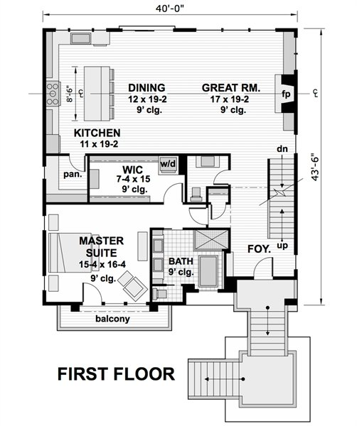 Main level floor plan of a two-story 5-bedroom modern home with a great room, shared dining and kitchen, and a primary suite with a private balcony.