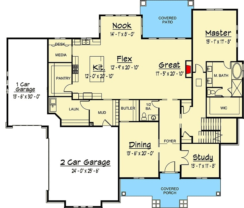 Main level floor plan of a two-story 7-bedroom exclusive shingle home with covered front porch, formal dining room, study, great room, flex area, kitchen, breakfast nook, laundry, and primary bedroom with back patio access.