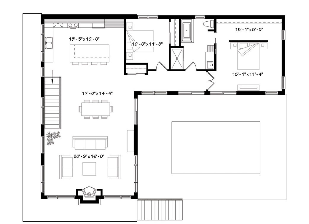 Main level floor plan of a two-story modern 4-bedroom Laeticia home with living room, dining area, kitchen, and two bedrooms sharing a full bath.