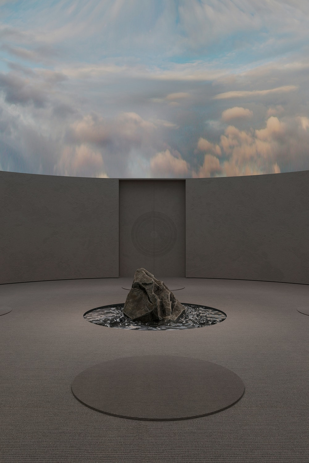 The ceiling of the meditation room could be changed into a cloudy sky scenery.