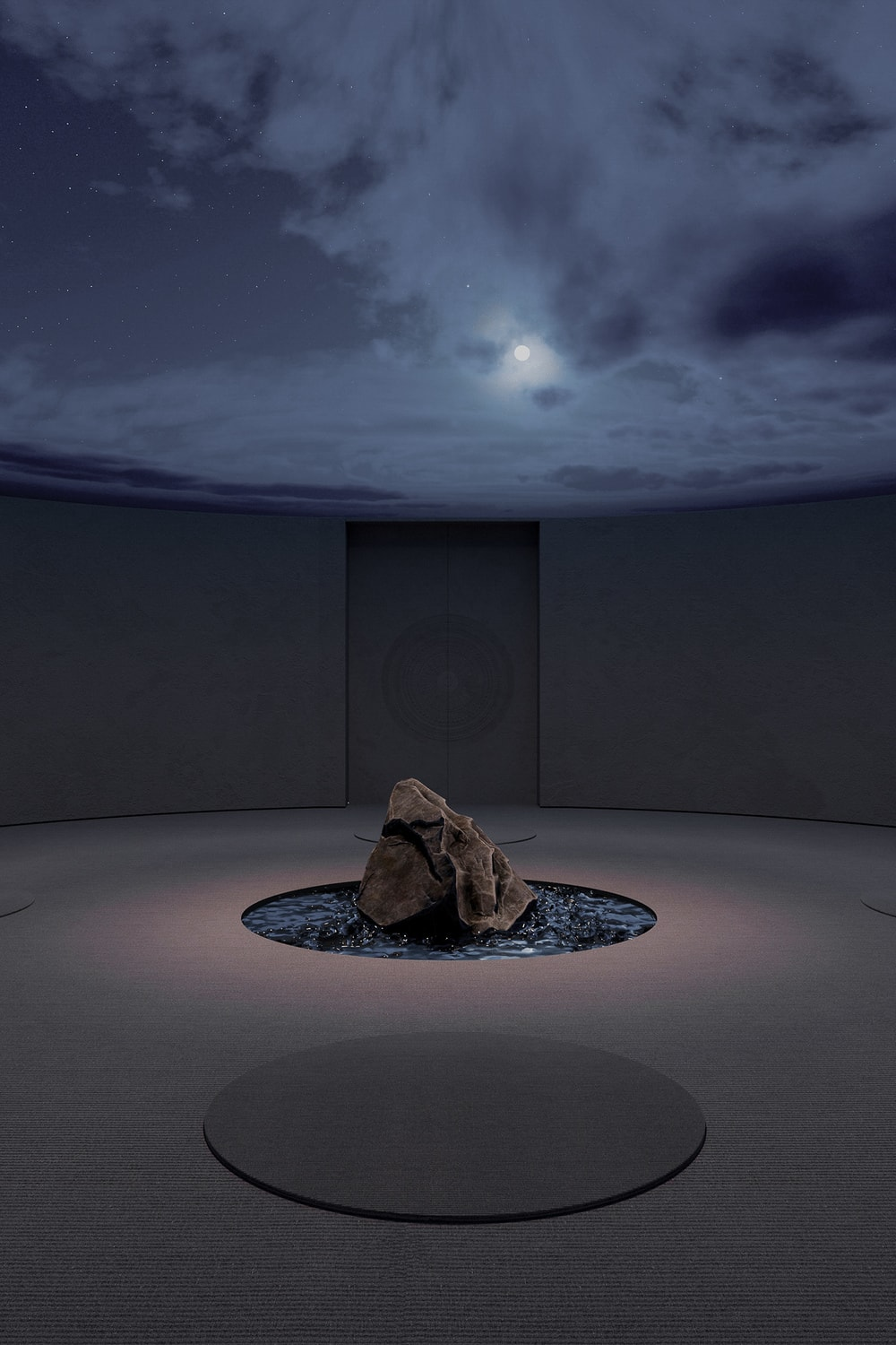 The ceiling of the meditation room can also be changed into a rainy sky scenery.