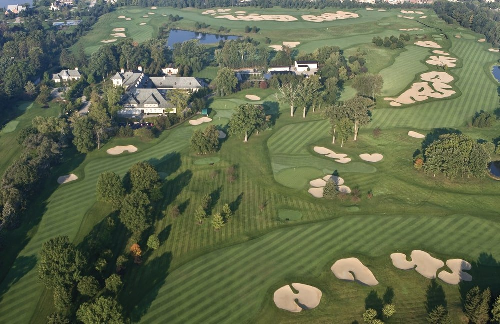 This is an aerial view of the whole property featuring the large golf course surrounding the mansion. Image courtesy of Toptenrealestatedeals.com.