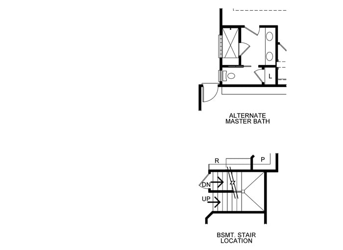 Alternative primary bath and basement stair location.