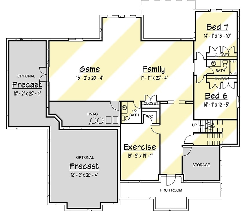 Lower level floor plan with two additional bedrooms, exercise room, and an enormous family and game room.