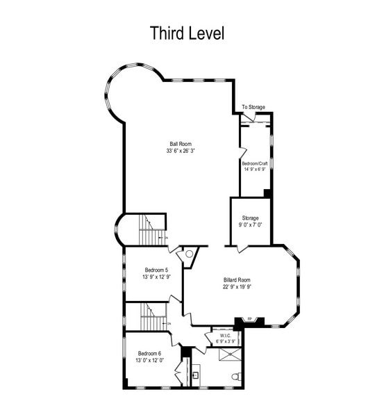 This is the floor plan of the mansion depicting the sections of the house on the third floor. Image courtesy of Toptenrealestatedeals.com.