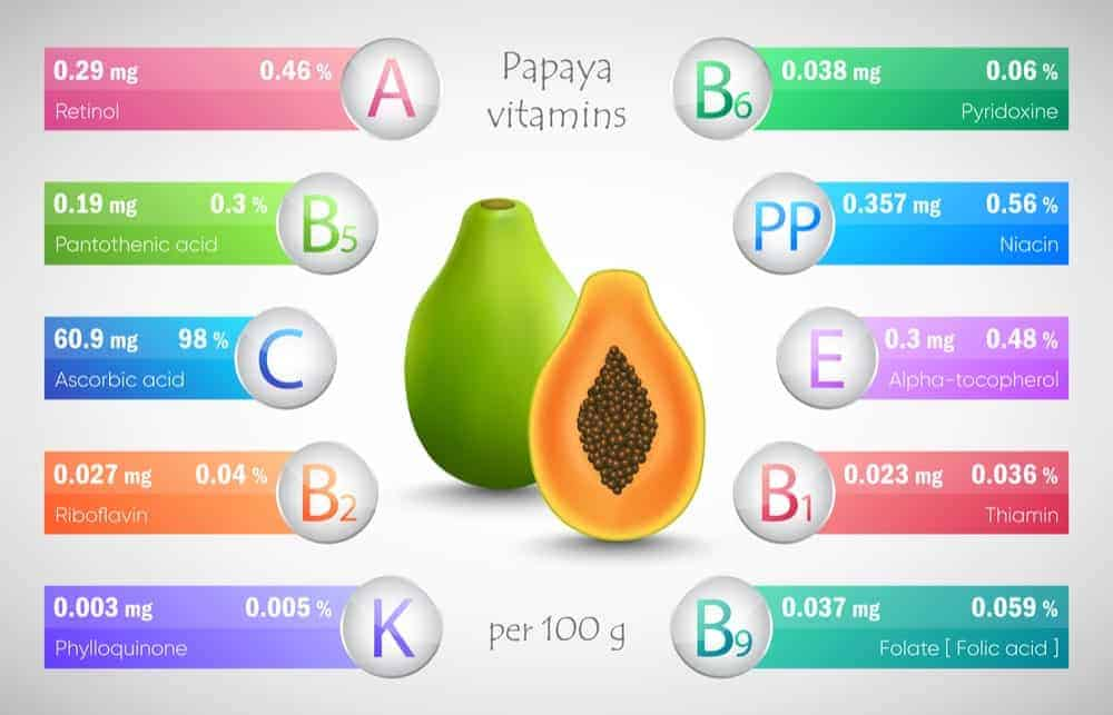Papaya nutrition facts chart