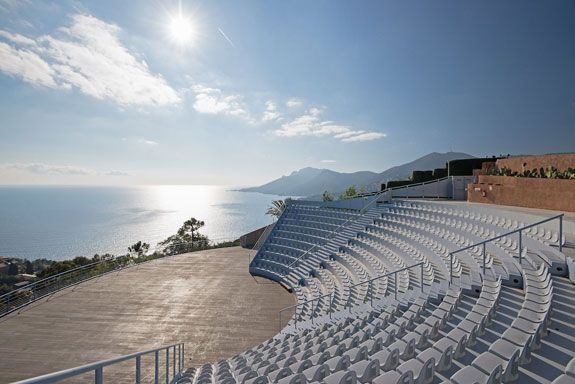 Here's the 500-seat, open-air auditorium with spectacular views of the Mediterranean and the Bay of Cannes. Image courtesy of Toptenrealestatedeals.com.