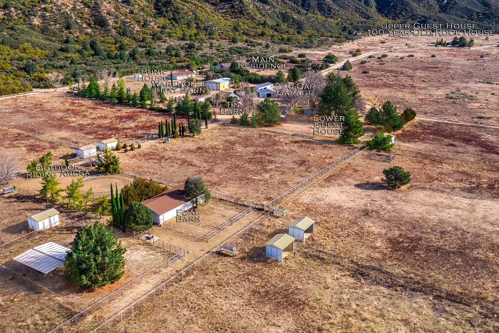 This is an aerial view of the ranch with labels for the various buildings. Image courtesy of Toptenrealestatedeals.com.