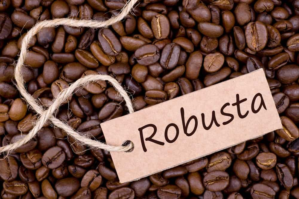 "Coffee beans with label ""Robusta""."