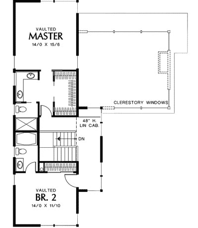 Second level floor plan with a vaulted guest room and a vaulted primary bedroom.