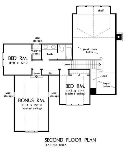 Second level floor plan with two bedrooms, a shared bath, and a vaulted bonus room above the garage.