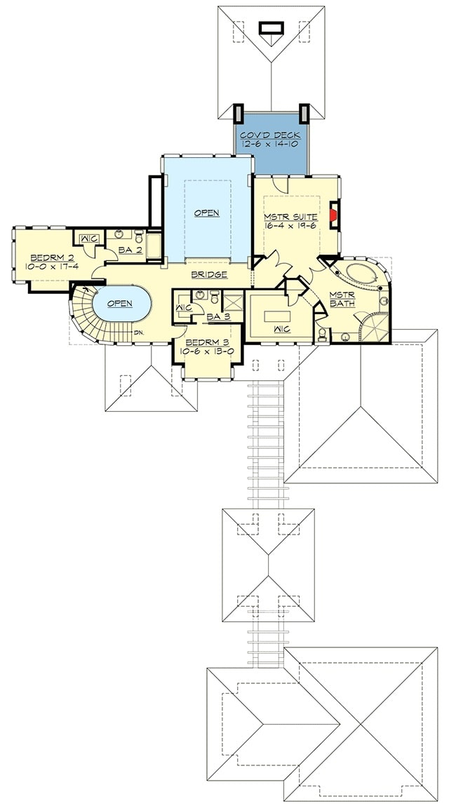 Second level floor plan with two bedrooms and a primary bedroom with a private covered deck.