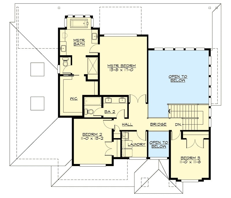 Second level floor plan with three bedrooms, a laundry room, and a balcony bridge that overlooks the rooms below.
