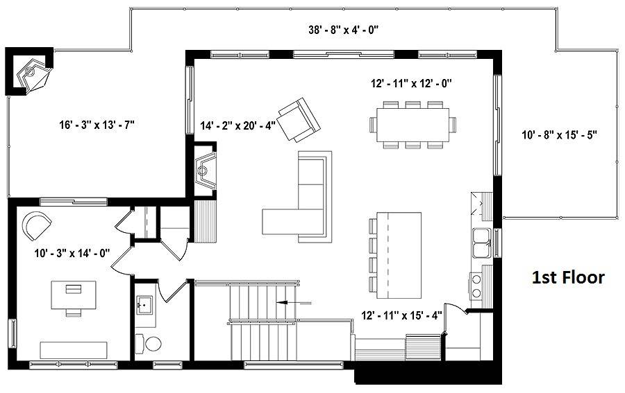 Second level floor plan with a living room, dining area, kitchen, and a study with access to the rear porch.