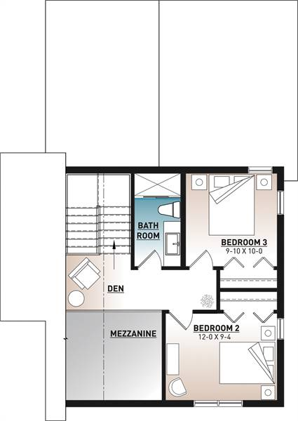 Second level floor plan with two bedrooms, a bathroom, and an open den.