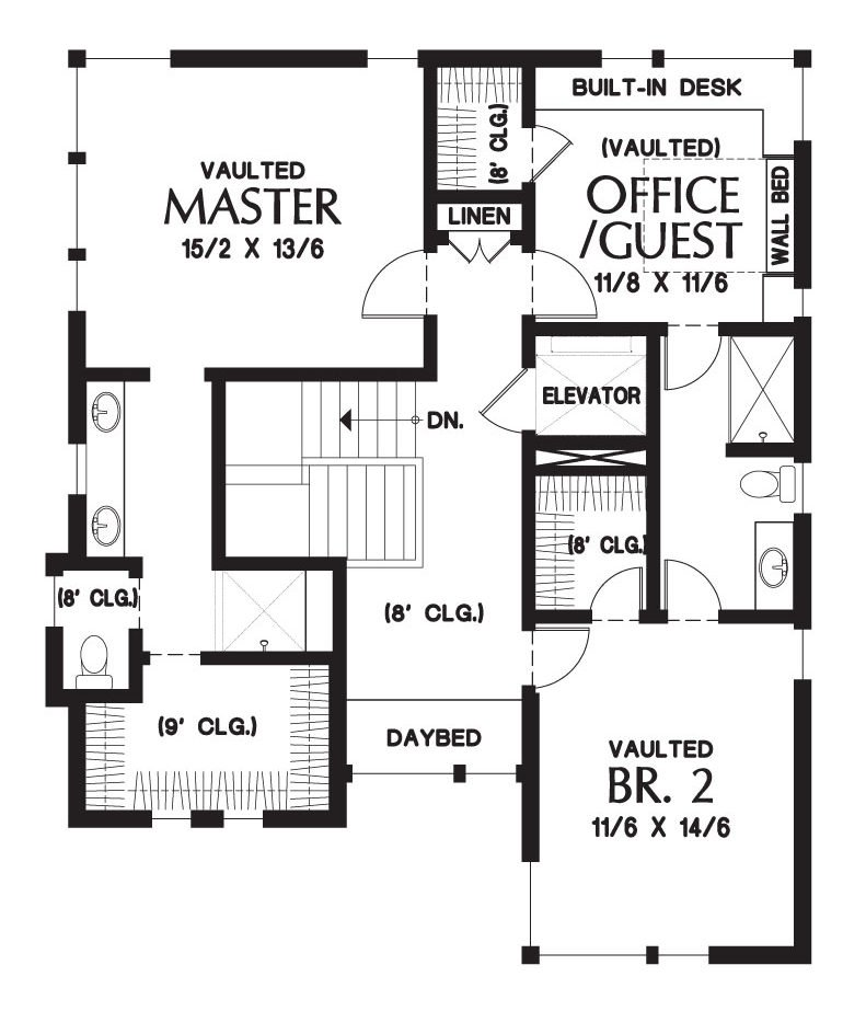 Upper level floor plan with three bedrooms including the primary suite and a versatile office/guest room.
