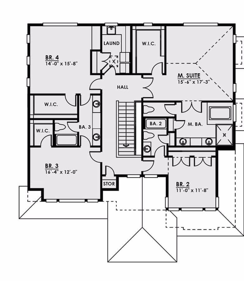 Second level floor plan with four bedrooms and a laundry room.