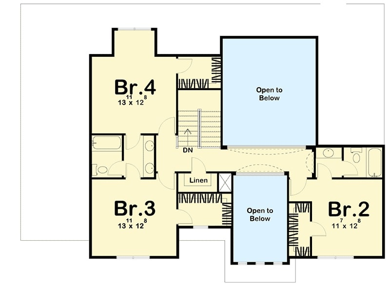 Second level floor plan with three bedrooms where two share a Jack and Jill bath while the other bedroom enjoys a private bath.