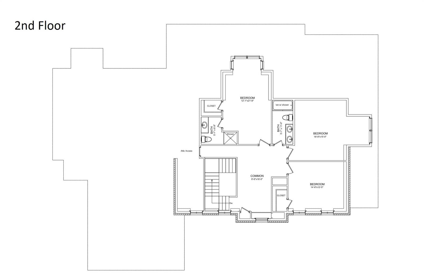 Second level floor plan with three bedrooms, two baths, and an open common room.