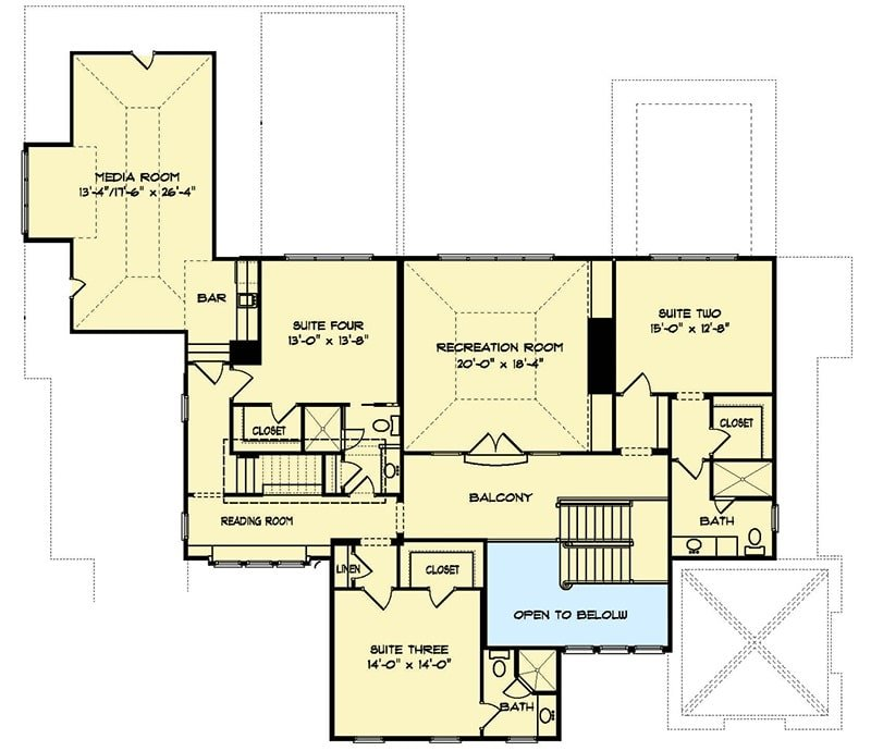 Second level floor plan with three bedrooms, a recreation room, reading room, and a media room with a bar.