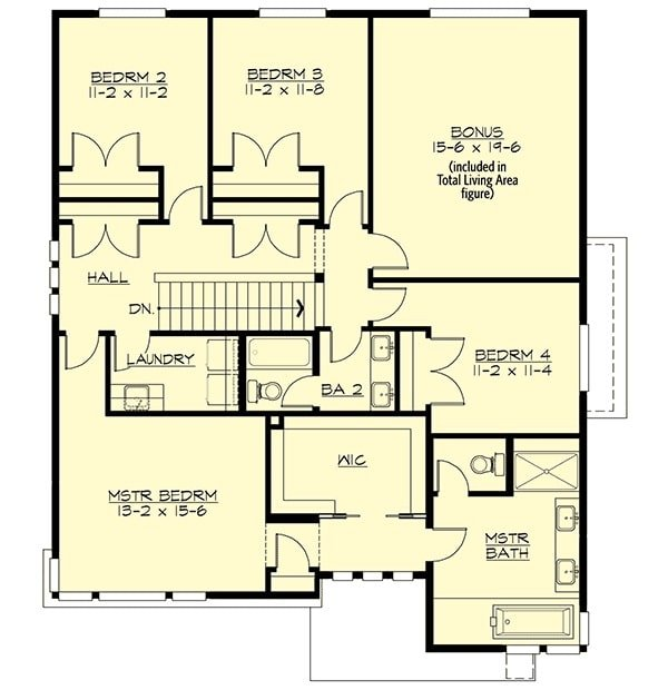 Second level floor plan with four bedrooms, a laundry room, and a large bonus room.