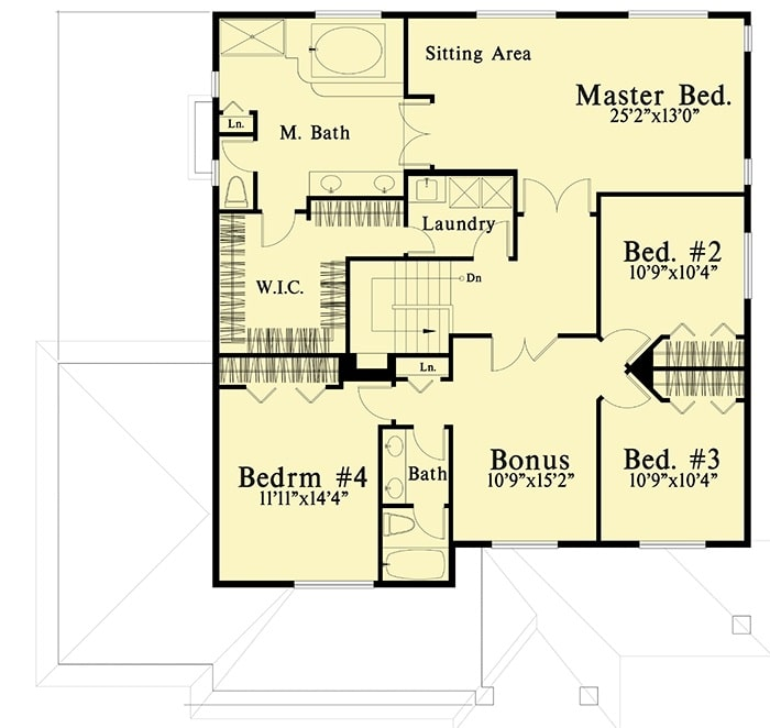 Second level floor plan with four bedrooms, a laundry room, and a spacious bonus room.