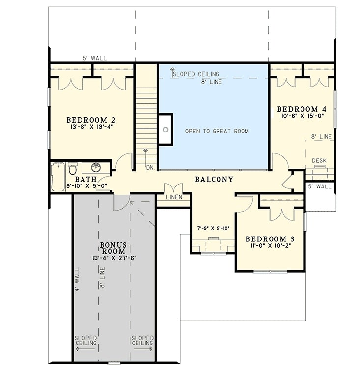 Second level floor plan with three bedrooms, a large bonus room, and a balcony that looks down the great room.