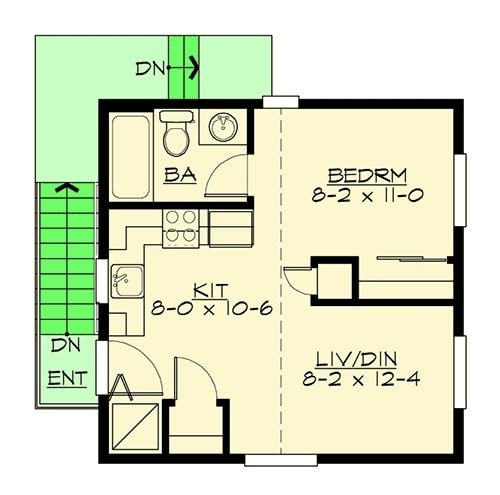 Main level floor plan of a single-story 1-bedroom apartment with kitchen, shared living and dining room, bathroom, and bedroom with walk-in closet.