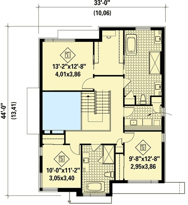 Second level floor plan with three bedrooms including the primary bedroom.