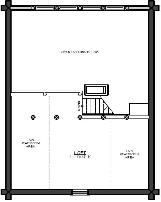 Second level floor plan with a loft that can be used for an office, hobby room, or an extra sleeping area for guests.
