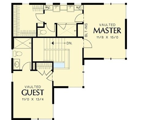 Second level floor plan with vaulted primary bedroom and a vaulted guest suite.