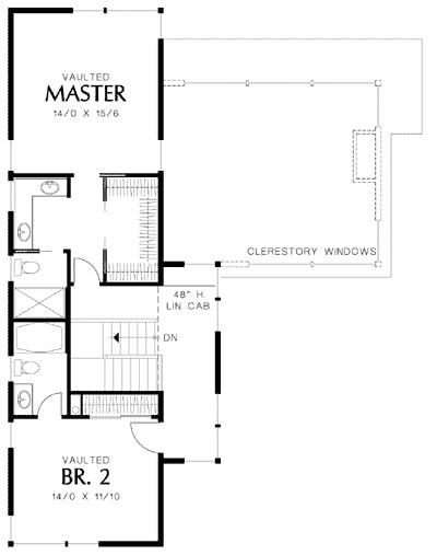 Second level floor plan with two vaulted bedrooms, each with their own bath and walk-in closet.