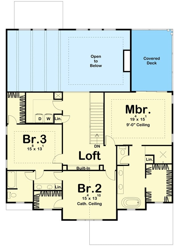Second level floor plan with a loft and 3 bedrooms including the primary suite with a private deck.