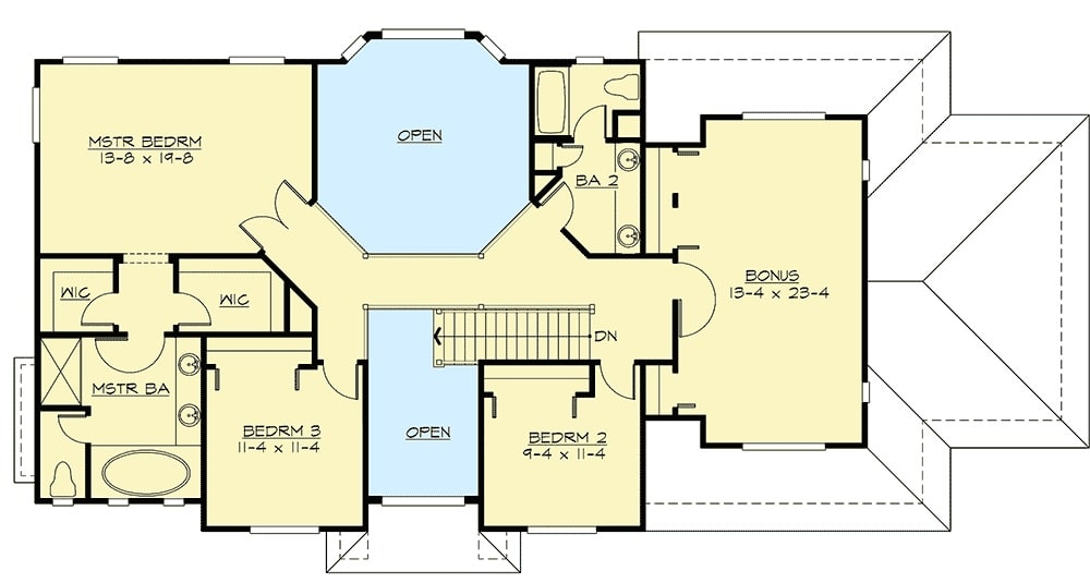 Second level floor plan with three bedrooms and a large bonus room sitting above the garage.