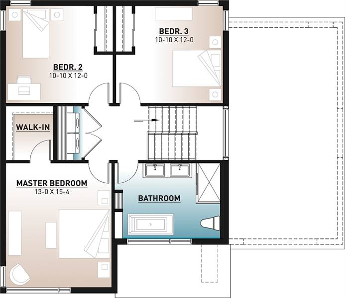 Second level floor plan with three bedrooms, a laundry, and a full bathroom.