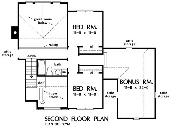 Second level floor plan with two bedrooms, a full bath, and a large bonus room above the garage.