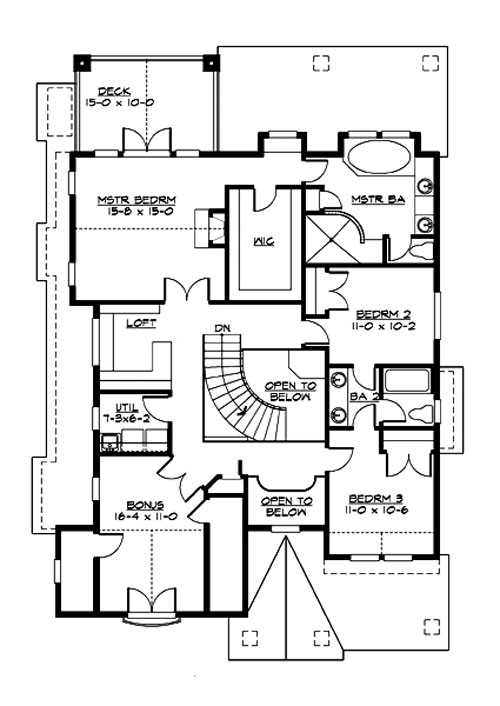 Second level floor plan with bonus room, a loft, utility and three bedrooms including the primary suite with a private deck.