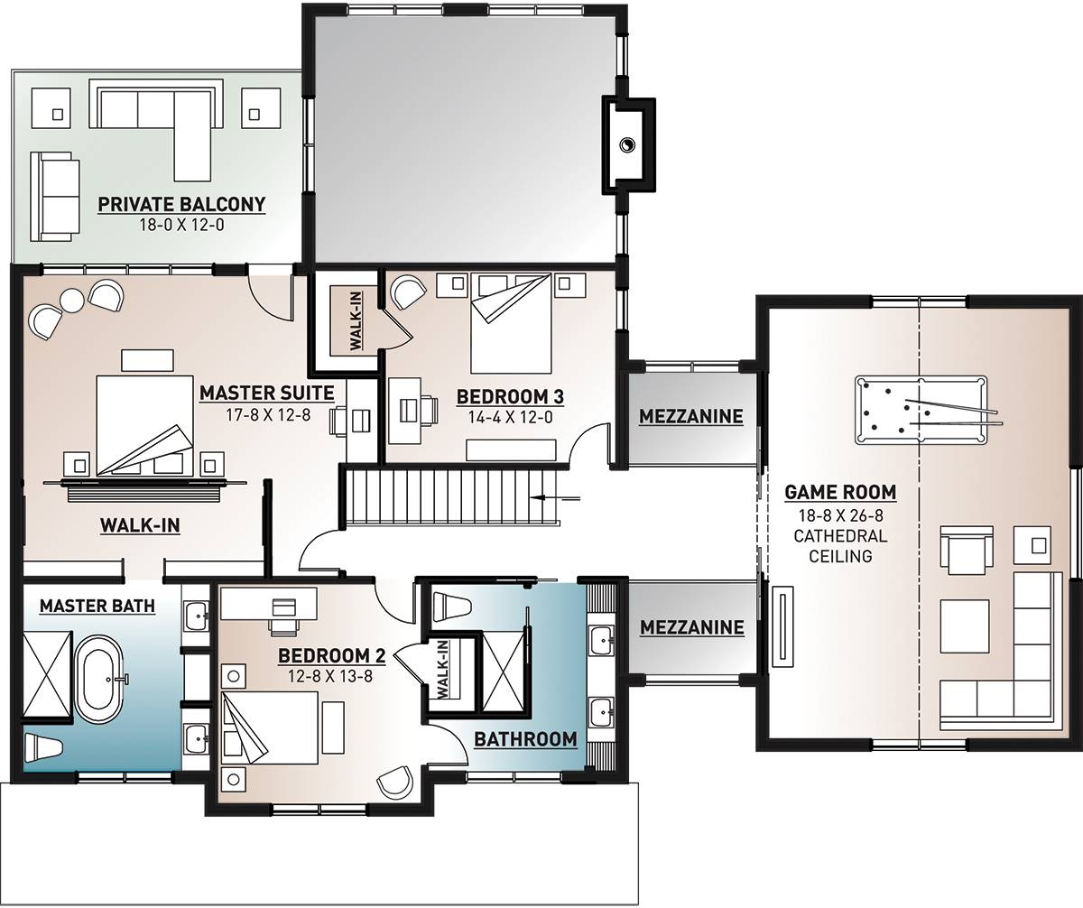 Second level floor plan with game room, two bedrooms, and a primary suite with private balcony.