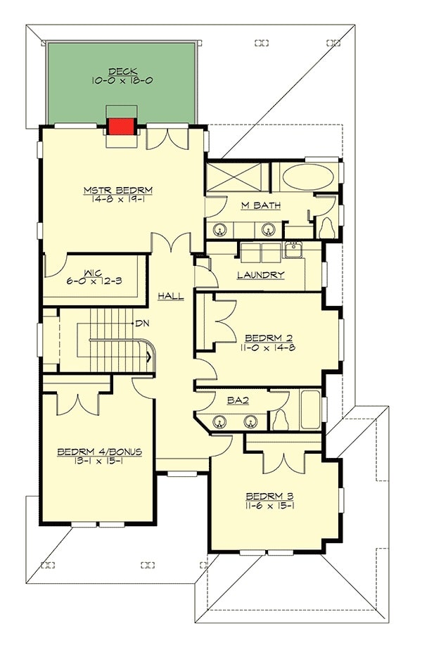 Second level floor plan with three bedrooms, a laundry room, and a bonus room that doubles as a fourth bedroom.