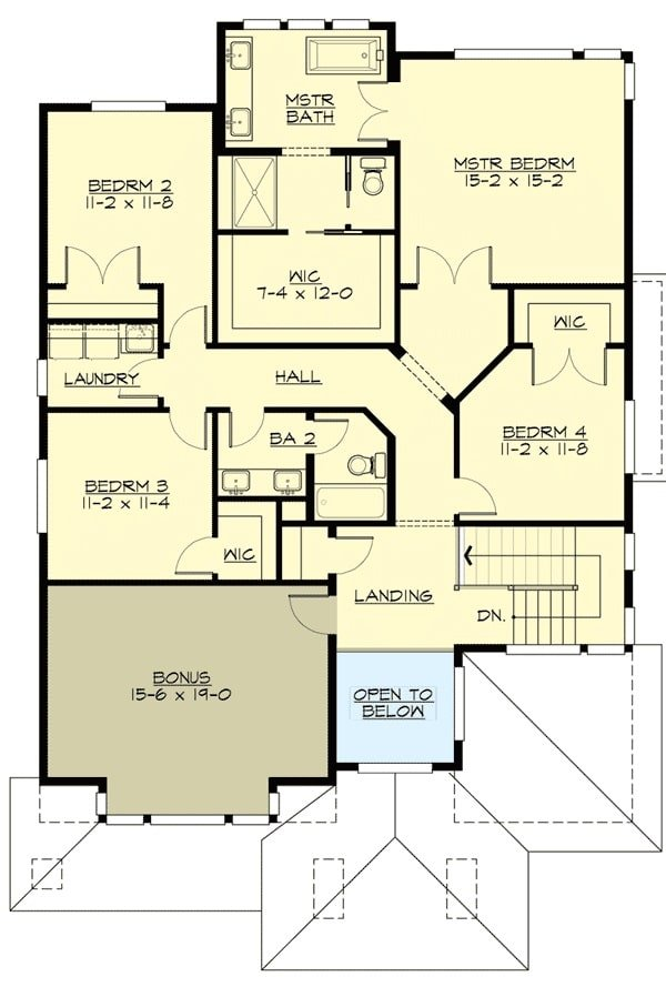 Second level floor plan with 4 bedrooms, laundry room, and a large bonus room sitting above the garage.
